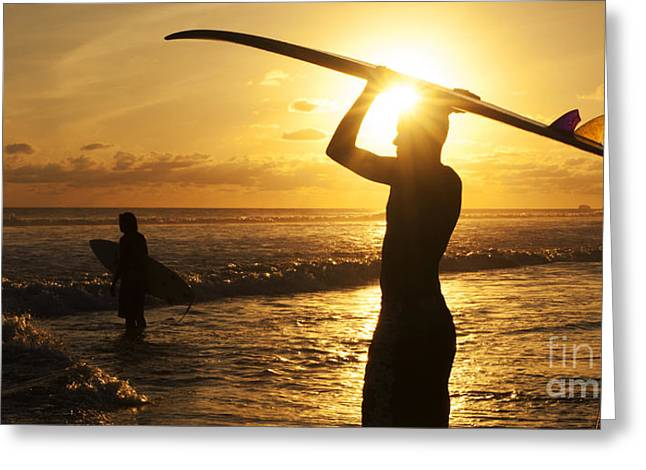 Greeting Cards - Sunset Surfing Corcovado Costa Rica 1 Greeting Card by Bob Christopher