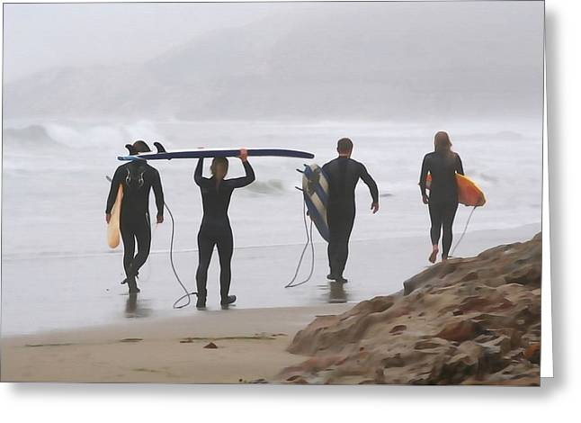 California Art Greeting Cards - Surfing Couples Greeting Card by Art Block Collections