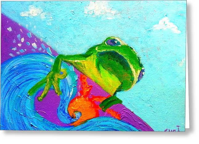 Whimsical. Greeting Cards - Surfing Froggie Greeting Card by Sue Jacobi