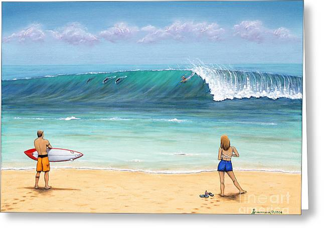 Jerome Stumphauzer Greeting Cards - Surfing Hawaii Greeting Card by Jerome Stumphauzer