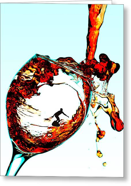 Surfing In A Cup Of Wine Little People On Food Greeting Card by Paul Ge