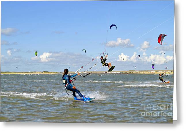Kiteboarding Greeting Cards - Surfing in Delta in Netherlands Greeting Card by Maja Sokolowska