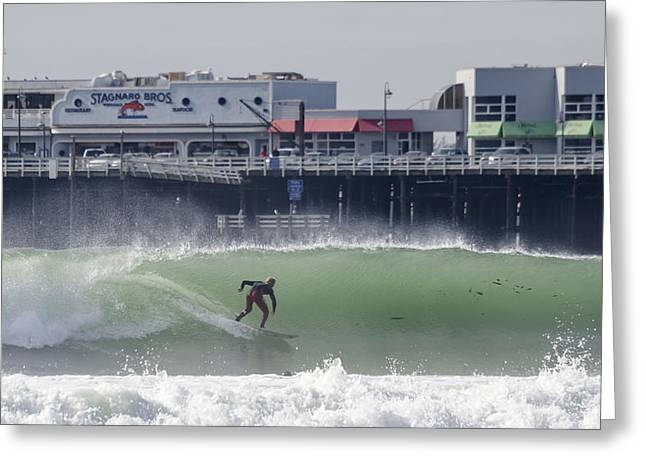 Santa Cruz Wharf Greeting Cards - Surfing in Santa Cruz Greeting Card by Bruce Frye
