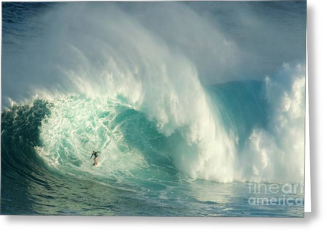 Surfing Photos Greeting Cards - Surfing Jaws 3 Greeting Card by Bob Christopher