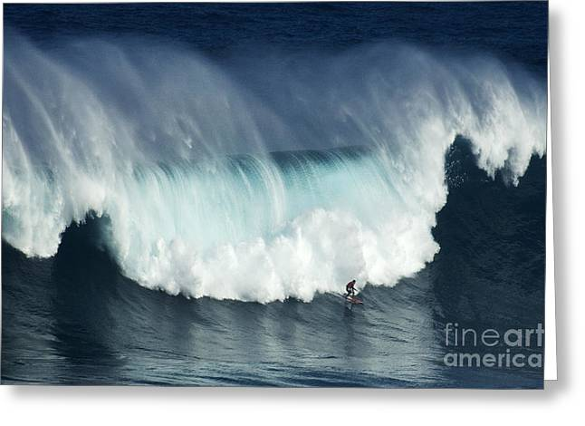Canadian Sports Art Greeting Cards - Surfing Jaws Running With Wolves Greeting Card by Bob Christopher