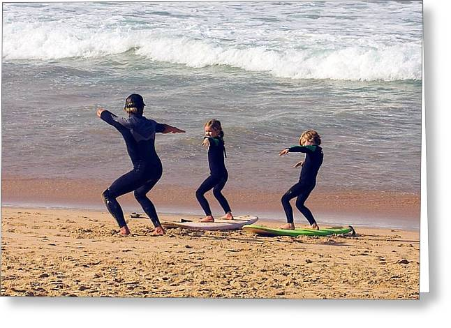 Surfing Lesson Greeting Card by Stuart Litoff