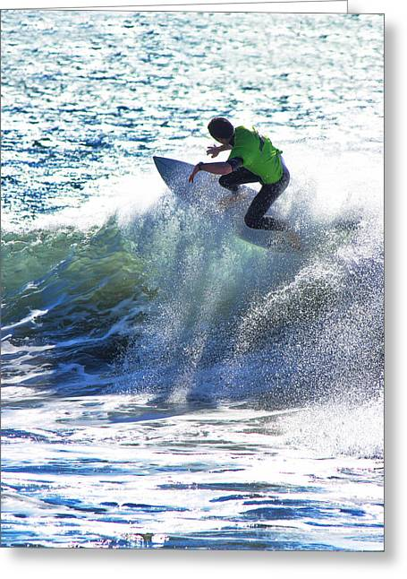 Rincon Greeting Cards - Surfing Rincon II Greeting Card by John A Royston