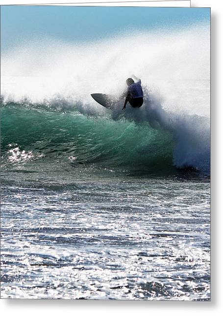 Rincon Greeting Cards - Surfing Rincon III Greeting Card by John A Royston