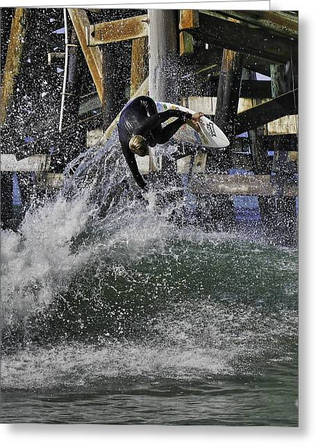 San Clemente Surfing Greeting Cards - Surfing San Clemente Pier Greeting Card by Richard Cheski