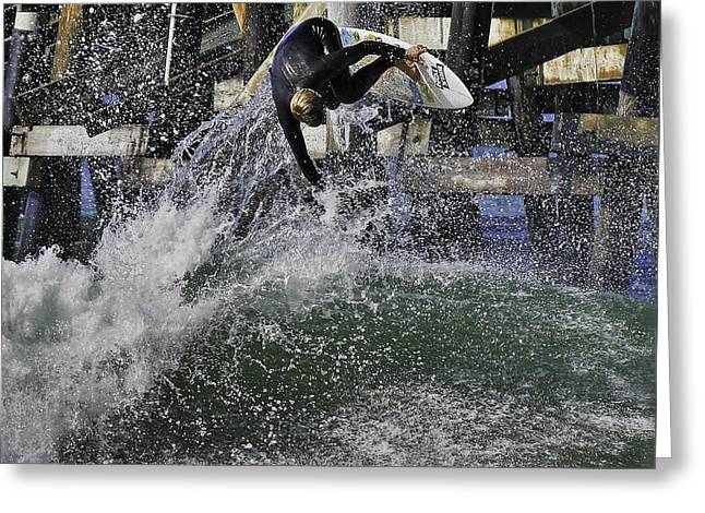 Surfing Photos Greeting Cards - Surfing San Clemente Pier Greeting Card by Richard Cheski