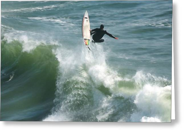 Santa Cruz Surfing Greeting Cards - Surfing Santa Cruz Greeting Card by Art Block Collections