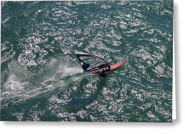 Ofir Ben Tov Greeting Cards - Surfing, Tel Aviv Greeting Card by Ofir Ben Tov