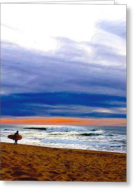 Half Moon Bay Digital Art Greeting Cards - Surfing the Pastel Sea Greeting Card by Kim Kelsey