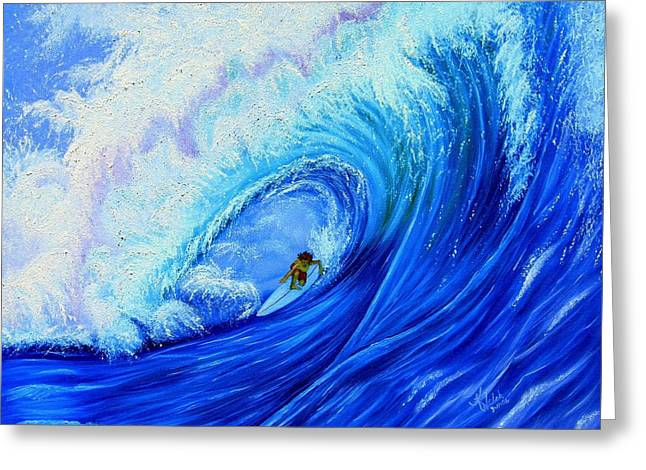 Surfing The Wild Wave Greeting Card by Kathern Welsh