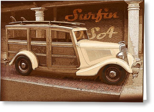Surf City Drawings Greeting Cards - Surfing USA Woodie Greeting Card by John Haldane