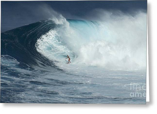 Surfing Photos Greeting Cards - Surfing With Giants Greeting Card by Bob Christopher