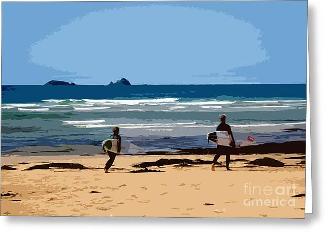 Recently Sold -  - Stein Greeting Cards - Surfs Up at Constantine Bay Greeting Card by Rachel Macht