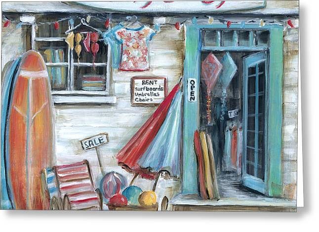 T Shirts Greeting Cards - Surfs Up Beach Shop Greeting Card by Marilyn Dunlap
