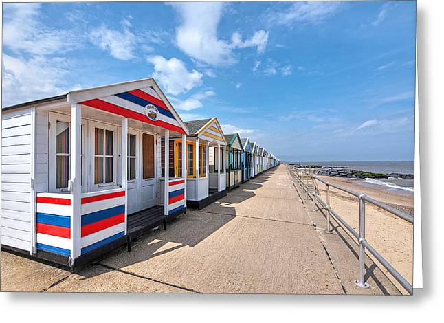 Ocean Front Landscape Greeting Cards - Surfs Up - Colorful Beach Huts Greeting Card by Gill Billington