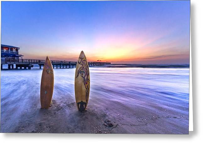 Surfer Art Greeting Cards - Surfs Up Greeting Card by Debra and Dave Vanderlaan