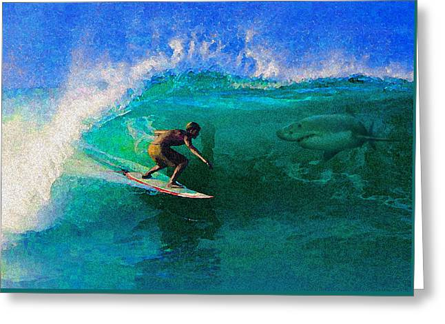 James Temple Greeting Cards - Surfs Up Greeting Card by James Temple