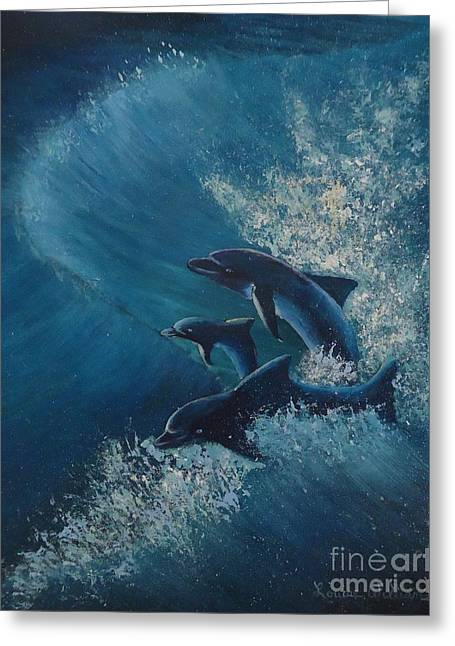 Ocean Images Drawings Greeting Cards - Surfs Up Greeting Card by Louise Williams
