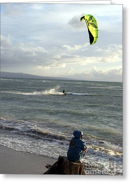 Wind Surfing Art Greeting Cards - Surfs Up Greeting Card by Mary Lou Chmura