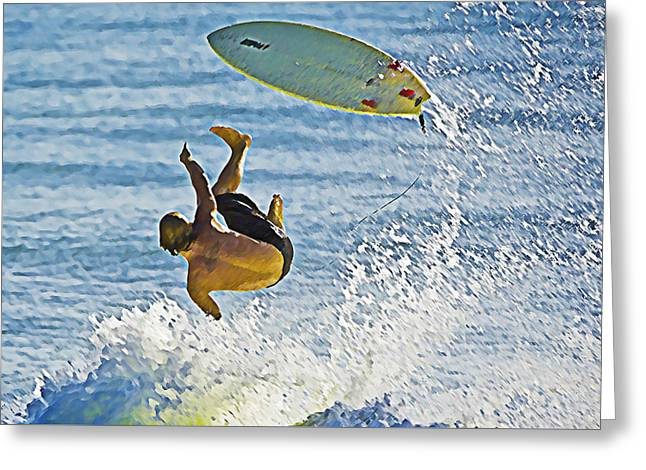 Wipe Out Greeting Cards - Surfs Up Greeting Card by Patrick M Lynch
