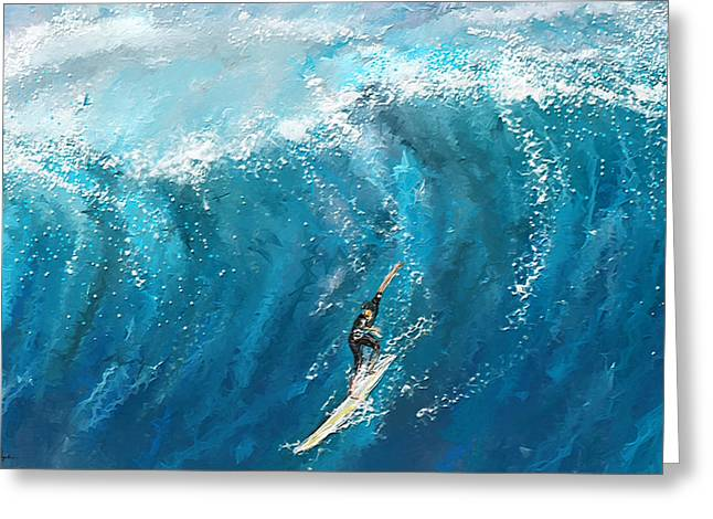 Surf's Up- Surfing Art Greeting Card by Lourry Legarde