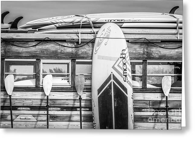 Long Boards Greeting Cards - Surfs Up - Vintage Woodie Surf Bus - Florida - Black and White Greeting Card by Ian Monk