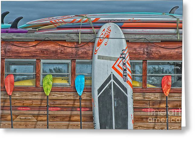 Longboard Greeting Cards - Surfs Up - Vintage Woodie Surf Bus - Florida - HDR Style Greeting Card by Ian Monk
