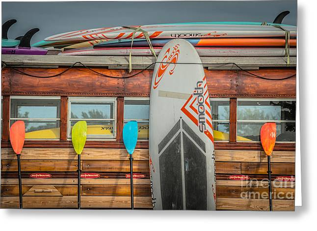 Longboard Greeting Cards - Surfs Up - Vintage Woodie Surf Bus - Florida Greeting Card by Ian Monk
