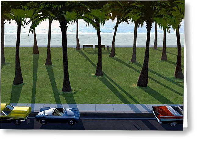 Parked Cars Greeting Cards - Surfside Greeting Card by Cynthia Decker