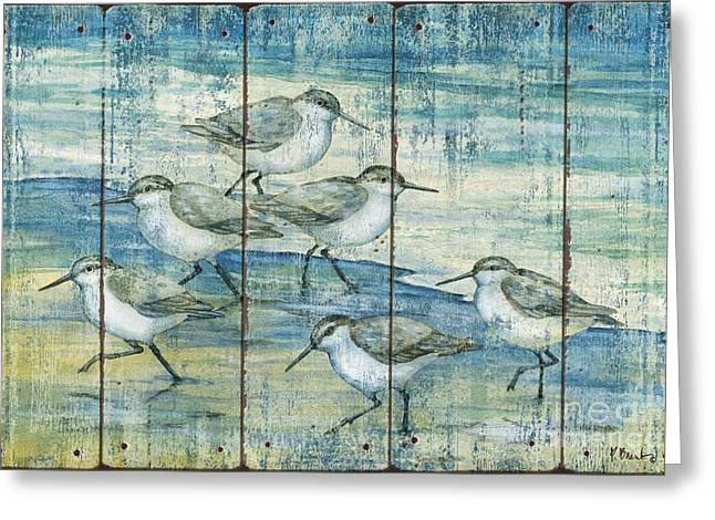 Sandpipers Greeting Cards - Surfside Sandpipers - Distressed Greeting Card by Paul Brent
