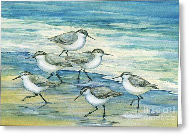 Sandpipers Greeting Cards - Surfside Sandpipers Greeting Card by Paul Brent