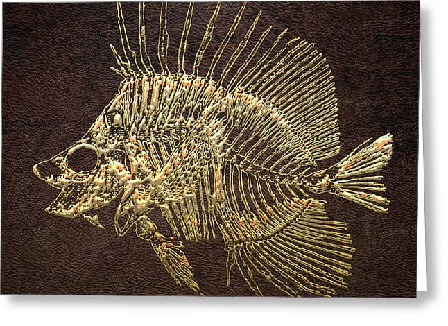 Surgeonfish Greeting Cards - Surgeonfish Skeleton in Gold on Brown  Greeting Card by Serge Averbukh