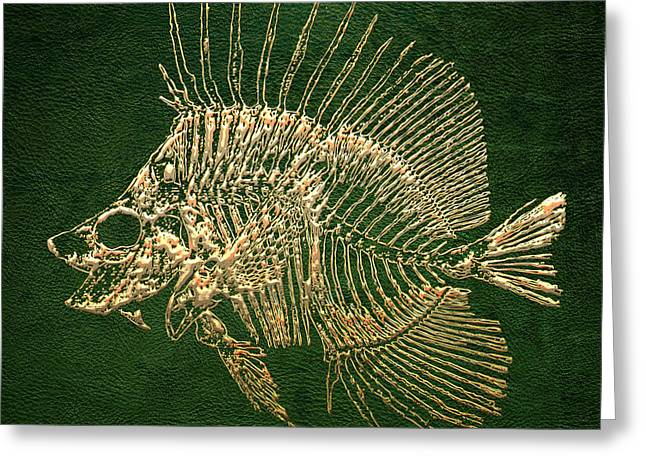 Surgeonfish Greeting Cards - Surgeonfish Skeleton in Gold on Green  Greeting Card by Serge Averbukh