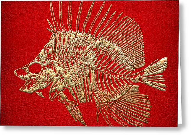 Surgeonfish Greeting Cards - Surgeonfish Skeleton in Gold on Red  Greeting Card by Serge Averbukh