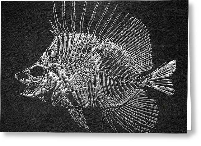Surgeonfish Greeting Cards - Surgeonfish Skeleton in Silver on Black  Greeting Card by Serge Averbukh