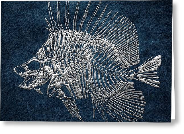 Surgeonfish Greeting Cards - Surgeonfish Skeleton in Silver on Blue  Greeting Card by Serge Averbukh
