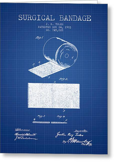 Surgical Bandage Patent From 1903- Blueprint Greeting Card by Aged Pixel
