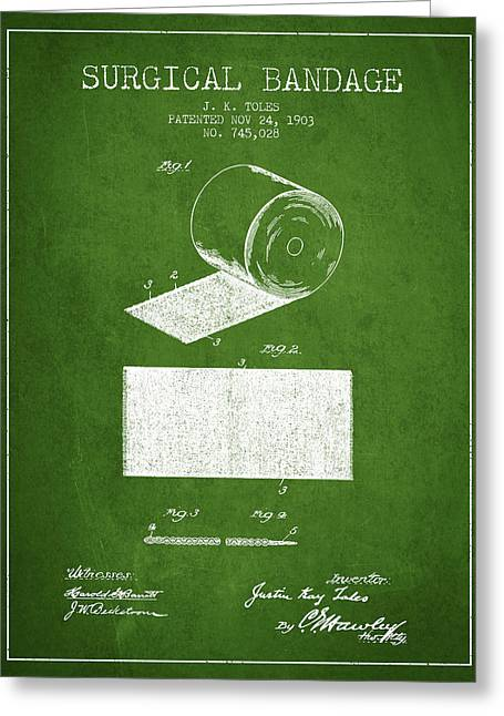 Bandages Greeting Cards - Surgical Bandage Patent from 1903- Green Greeting Card by Aged Pixel