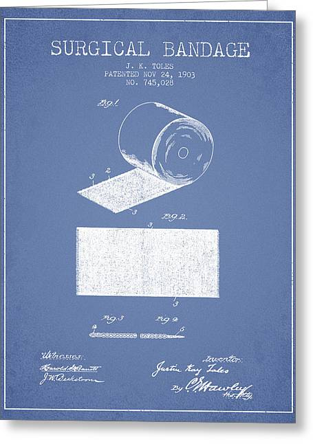 Surgical Bandage Patent From 1903- Light Blue Greeting Card by Aged Pixel