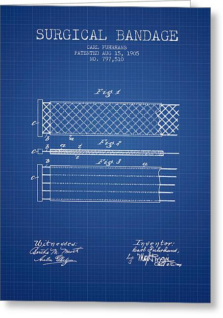 Bandages Greeting Cards - Surgical Bandage Patent from 1905- Blueprint Greeting Card by Aged Pixel