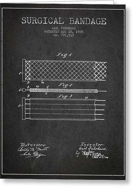 Surgical Bandage Patent From 1905- Charcoal Greeting Card by Aged Pixel