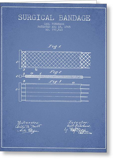 Surgical Bandage Patent From 1905- Light Blue Greeting Card by Aged Pixel