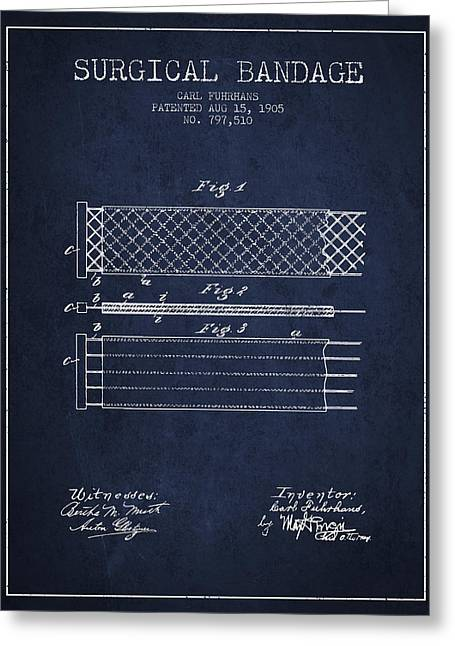 Bandages Greeting Cards - Surgical Bandage Patent from 1905- Navy Blue Greeting Card by Aged Pixel