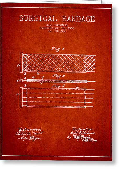 Bandages Greeting Cards - Surgical Bandage Patent from 1905- Red Greeting Card by Aged Pixel