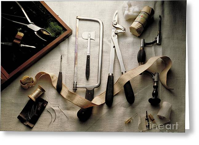 Saw Greeting Cards - Surgical Instruments Greeting Card by Brooks / Brown