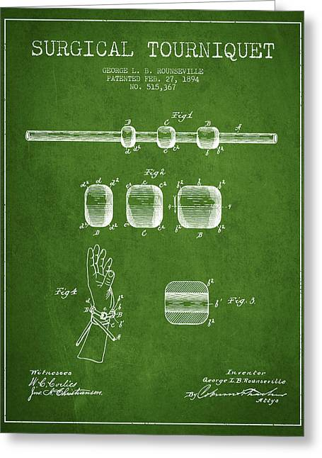 Surgeon Greeting Cards - Surgical tourniquet patent from 1894 - Green Greeting Card by Aged Pixel
